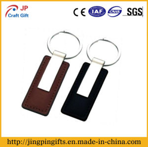 Brown Black Metal Leather Key Chain with Ring pictures & photos