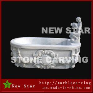 White Marble Women Carving Stone Bathtub pictures & photos