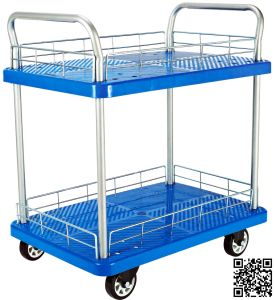 300kgs Blue Double Layers Plastic Hand Trolley with Mesh pictures & photos