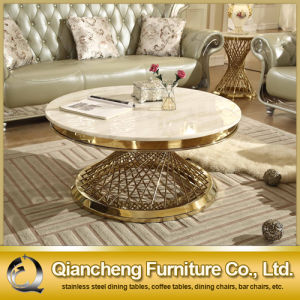 Modern Model White Marble Good Price Round Coffee Table pictures & photos