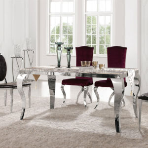 Modern Dining Table with Manmade Marble Top Steel Leg pictures & photos