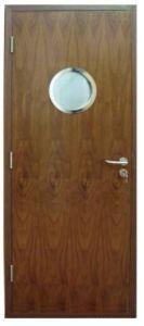 Wooden Door with Glass Viewport