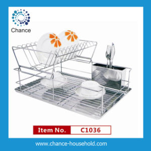 2 Layer Metal Rack with Stainless Tray (C1036)