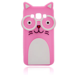 Cartoon Cat Glasses Silicone Case for iPhone 6s/6plus Mobile Phone Cover (XSDW-007)