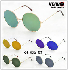 New Coming Round Frame Metal Sunglasses with Flat Lens Km15159 pictures & photos