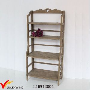 4 Tiers Vintage Wood Shelf Flower Rack pictures & photos