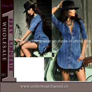 2016 Newest Fashion Lady Demin Shirt Dress (T22439) pictures & photos