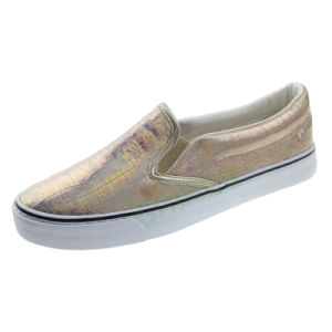 Siliver Snake Patent PU Slip on Vulcanized Shoe for Women