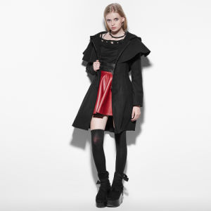 Py-160 Lolita Black Skinny Zipper Woman Cloak Style Coats with Hooded pictures & photos