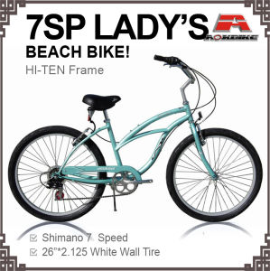 26 Inch 7 Speed Beach Cruiser Bike for Lady (ARS-2610S) pictures & photos