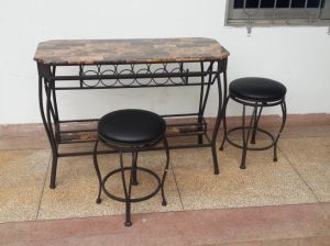Metal Pub Set with Fake Marble Top pictures & photos