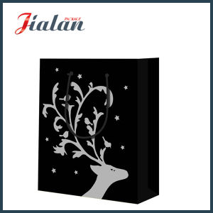 Black Color with Hot Stamping Christmas Elk Gift Paper Bag pictures & photos