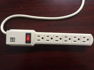 American Standard 6 Way Power Strip with Dual USB Ports pictures & photos