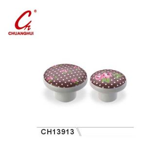 Beautiful Ceramic Knob Handles with Flower Pattern (CH13913) pictures & photos