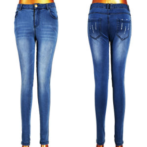 High Fashionable Tear Women Blue Jeans