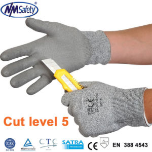 Nmsafety PU Coated Cut Resistant Safe Hand Work Glove pictures & photos