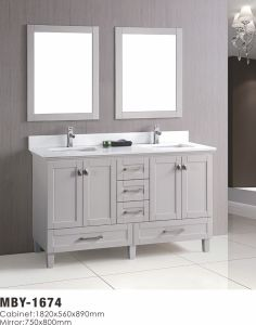 Legion Furniture 59-Inch Dark Grey Solid Wood Double Sink Vanity Set with Faucet and Mirror pictures & photos