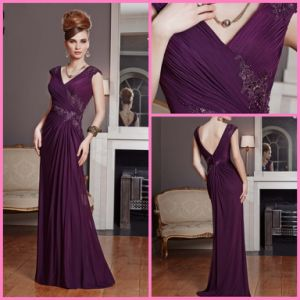 Chiffon Mother of Bride Dresses Applique A-Line Purple Evening Dresses Gowns Z4015 pictures & photos