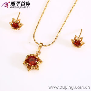 Xuping Fashion Gold Flower-Shaped Alloy Jewelry Set with CZ Diamond --62579 pictures & photos