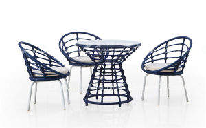 Blue Wicker Garden Chair with Table
