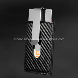 New Combination Metal Money Clip Carbon Fiber Leather Business Card Holder pictures & photos