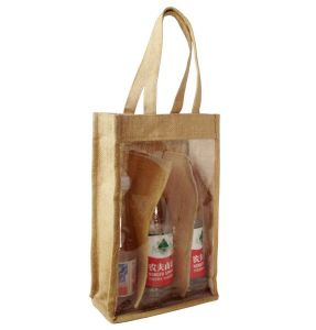 Natural Jute Wine Carrying Bag with Clear PVC Window pictures & photos