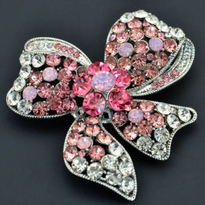 Fashion Silver Plated Rhinestone Bow Design Lady Brooch pictures & photos