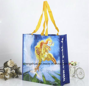 Long Handle Foldable PP Woven Tote Bag for Shopping Supermarket