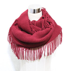 Women Fashion Acrylic Knitted Winter Infinity Fringe Scarf (YKY4394) pictures & photos