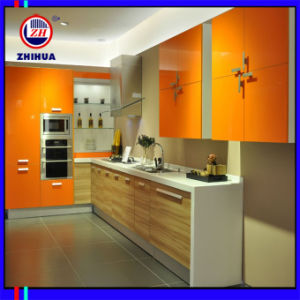 Wooden Colour Melamine Door Kitchen Cabinet (FY2344) pictures & photos