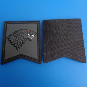 Game of Thrones Black Wolf 3D PVC Hook & Loop Patch pictures & photos