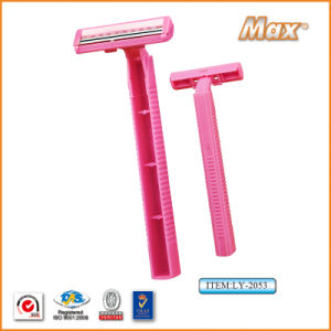 Twin Stainless Steel Blade Disposable Razor Fro Woman (LY-2053) pictures & photos