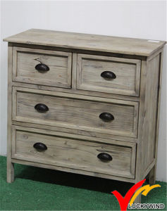 Vintage Solid Wood Cabinet with White Distressed Effect pictures & photos