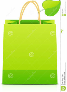 Green Paper Shopping Bag Leaf Handle pictures & photos