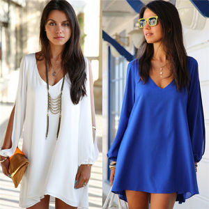 Stylish One-Piece Dress Sexy Loose Casual Chiffon Tops (14365) pictures & photos