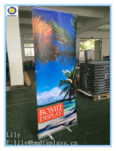 small base aluminum roll up banner roller screen economic pull up banner stand