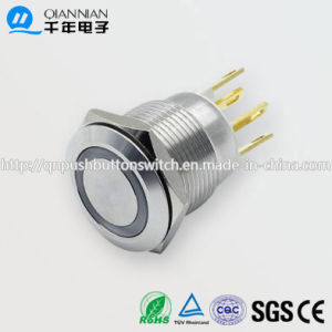 19mm 1no Resetable Self-Locking Flat Ring Illuminated IP67 Ik10 Push Button Switch pictures & photos