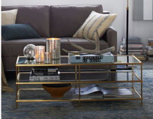 Three Layers Golden Stainless Steel Glass Coffee Table (CCT-016) pictures & photos