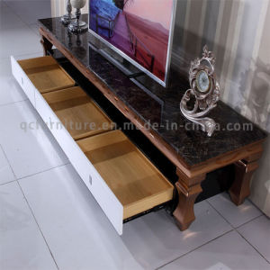 2016 Modern latest Brushed Rose Golden Stainless Steel TV Stand with Drawer pictures & photos