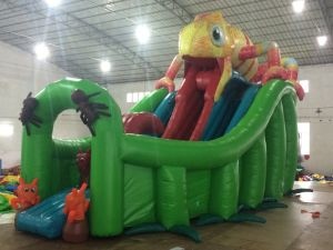 China Inflatable Toy /Jumping Bouncy Castle Bouncer Chameleon Slide (T4-250) pictures & photos