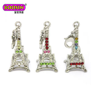 Fashion Silver Eiffel Tower Crystal Pendant Jewelry Charm for Necklace pictures & photos