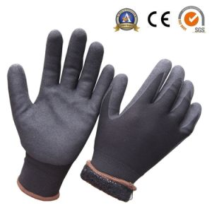 Acrylic Fleece Double Liner Nitrile Dipped Soft Winter Work Glove pictures & photos