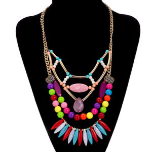 Bohemian Style Gold Plated Multicolor Beaded Pendant Necklace Artificial Jewelry pictures & photos