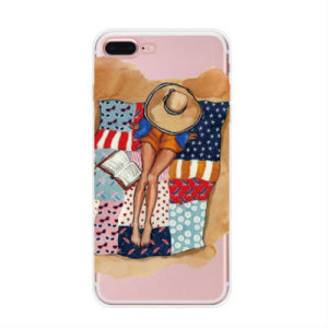 Cute Girl Ultrathin Clear Soft TPU Phone Back Case for iPhone6/7/X/8plus pictures & photos