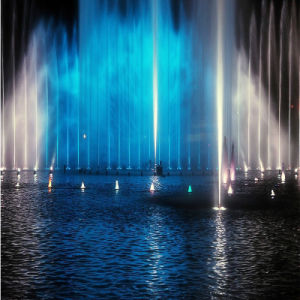 Outdoor Dancing Lake Fountain with Colorful Lighting