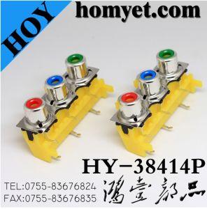 Three Holes RCA Socket with Silvering in Yellow (HY-38414P) pictures & photos