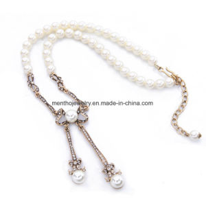 Good Cheap Long Pearl Chain Inlaid Rhinestone Necklace Butterfly Shape Pearl Pendant Jewelry pictures & photos