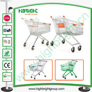 Hyper Market Zinc Plated Shopping Trolley Cart with Rubber Wheels pictures & photos