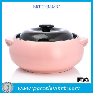 Candy Color Kitchen Cookware Ceramic Soup Pot with Black Lid pictures & photos