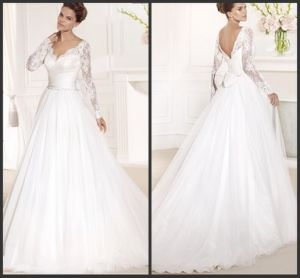 Lace Formal Bridal Gown Long Sleeves V-Neck Sheath Tarik Wedding Dress (A134) pictures & photos